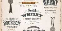45644228 - illustration of a vintage design set of whisky drinks and beverage package labels, with textures, floral patterns, ornaments and seals for bottle